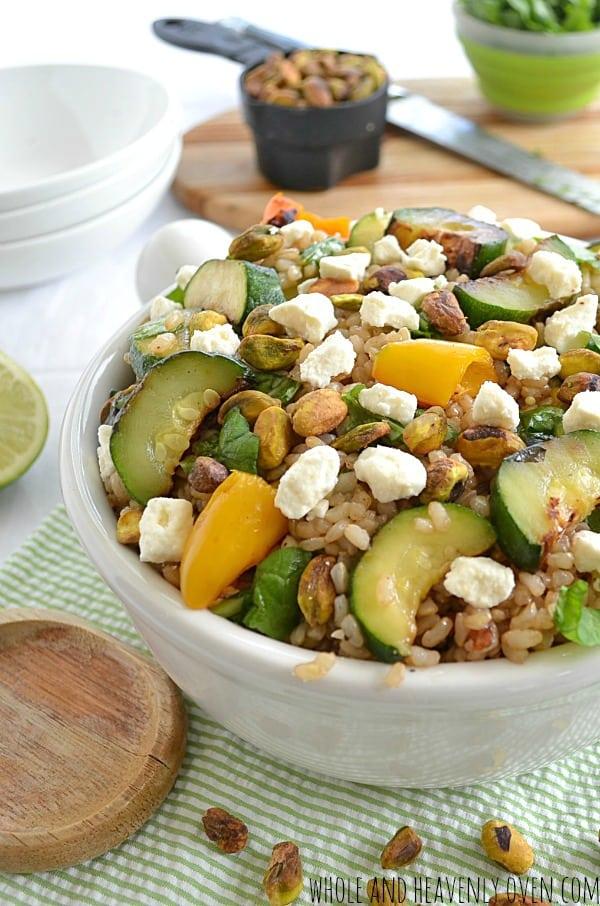 Summer Rice Salad with Grilled Veggies + Feta   wholeandheavenlyoven.com