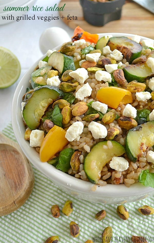 Summer Rice Salad with Grilled Veggies + Feta | wholeandheavenlyoven.com
