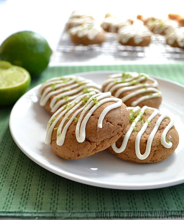 Tea Cookies With Lime Cream Cheese Glaze | wholeandheavenlyoven.com