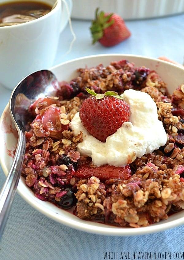 Triple Berry Rhubarb Oat Crisp