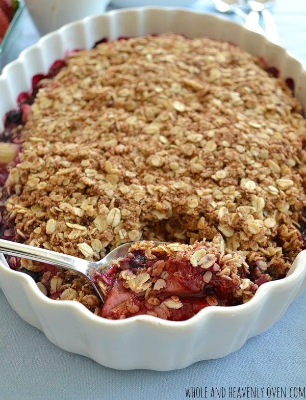 Triple Berry Rhubarb Oat Crisp | wholeandheavenlyoven.com