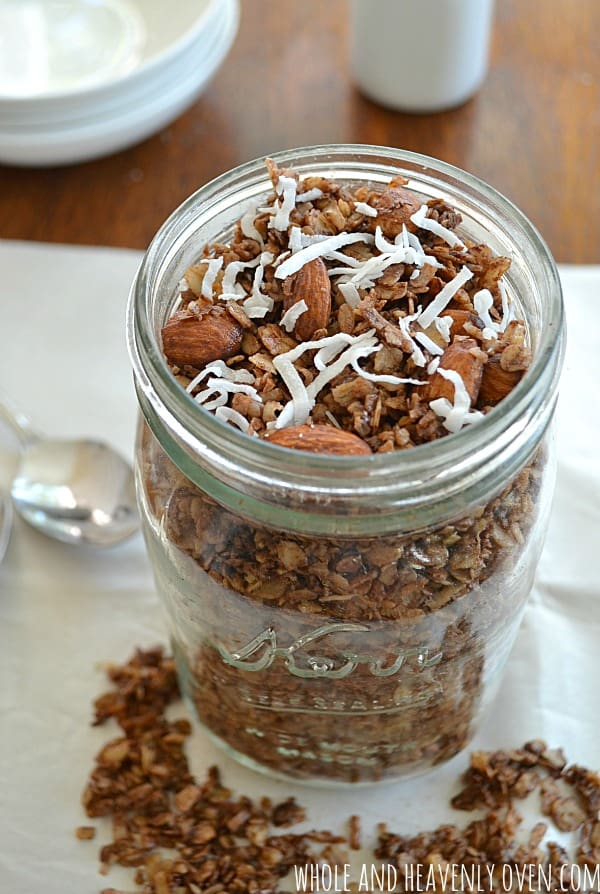 Almond Joy Granola | wholeandheavenlyoven.com #granola #almondjoy