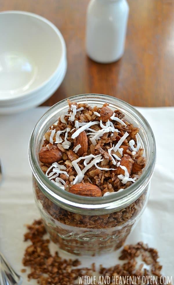 Almond Joy Granola | wholeandheavenlyoven.com #granola #almondjoy
