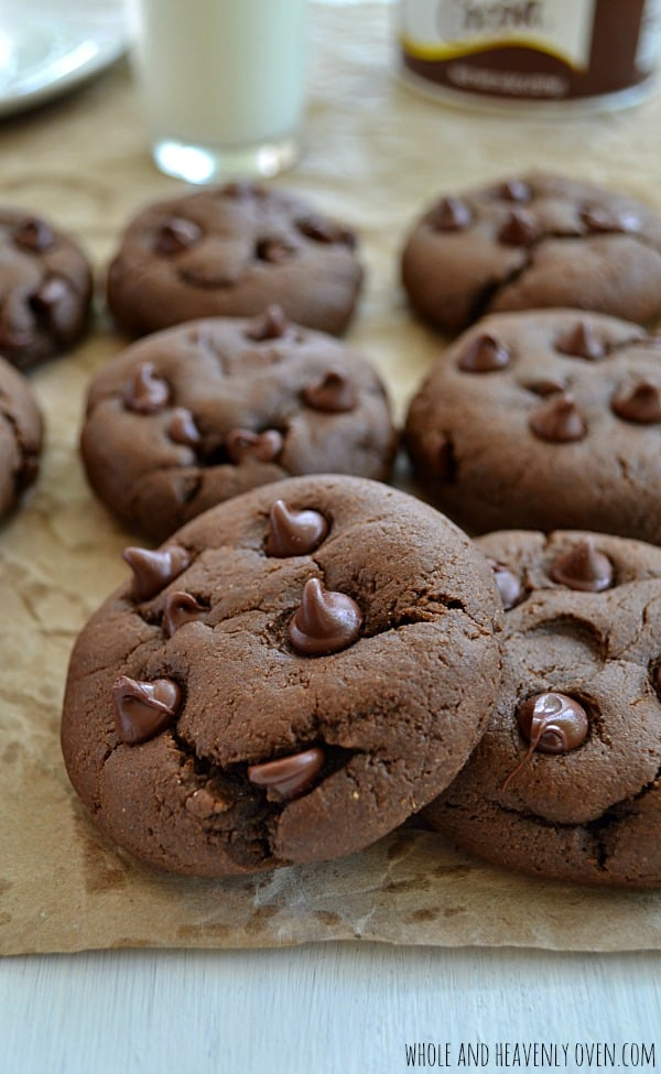 Bakery-Style Double Chocolate Cookies   wholeandheavenlyoven.com