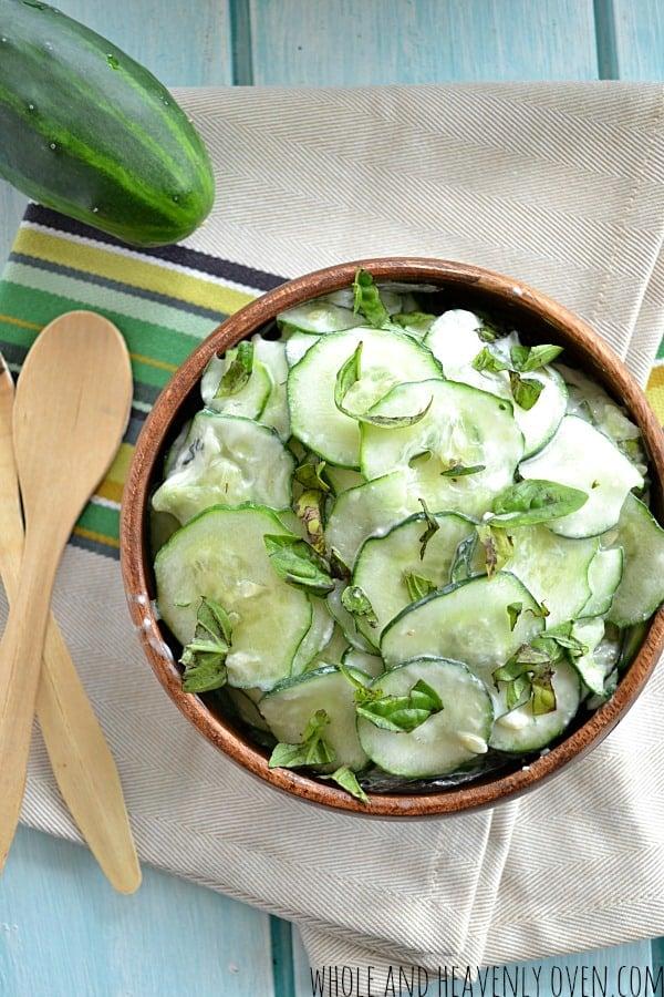 Basil Cucumber Salad | wholeandheavenlyoven.com