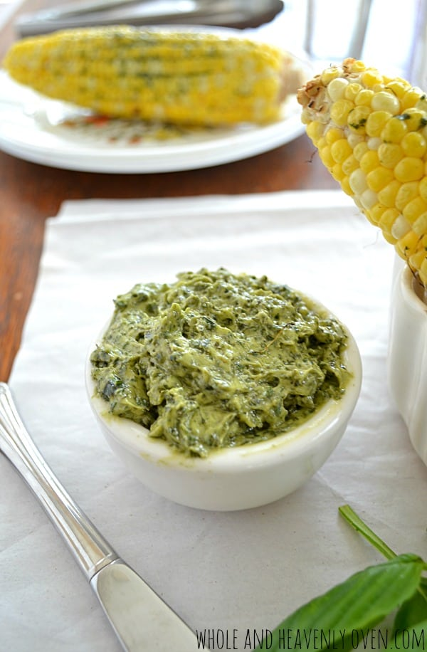 Grilled Corn on the Cob with Basil Butter   wholeandheavenlyoven.com