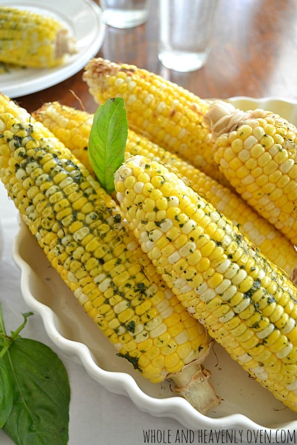 Grilled Corn on the Cob with Basil Butter | wholeandheavenlyoven.com