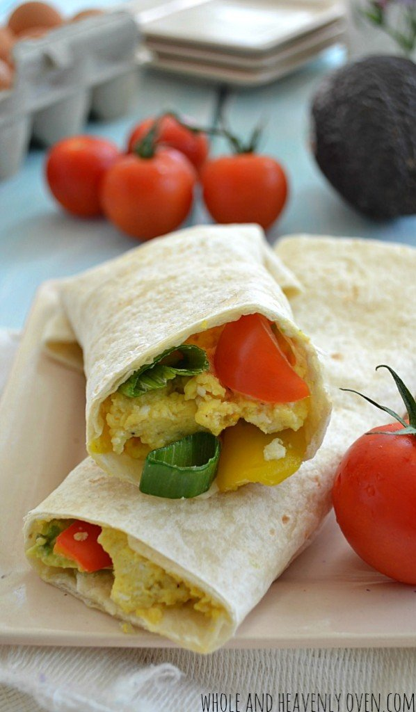 Loaded Veggie Breakfast Wraps | wholeandheavenlyoven.com