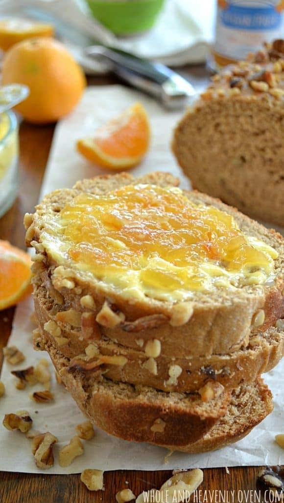 Orange Walnut Bread   wholeandheavenlyoven.com #breakfast #bread