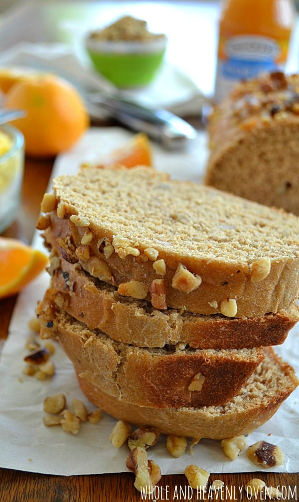 Orange Walnut Bread | wholeandheavenlyoven.com #breakfast #bread
