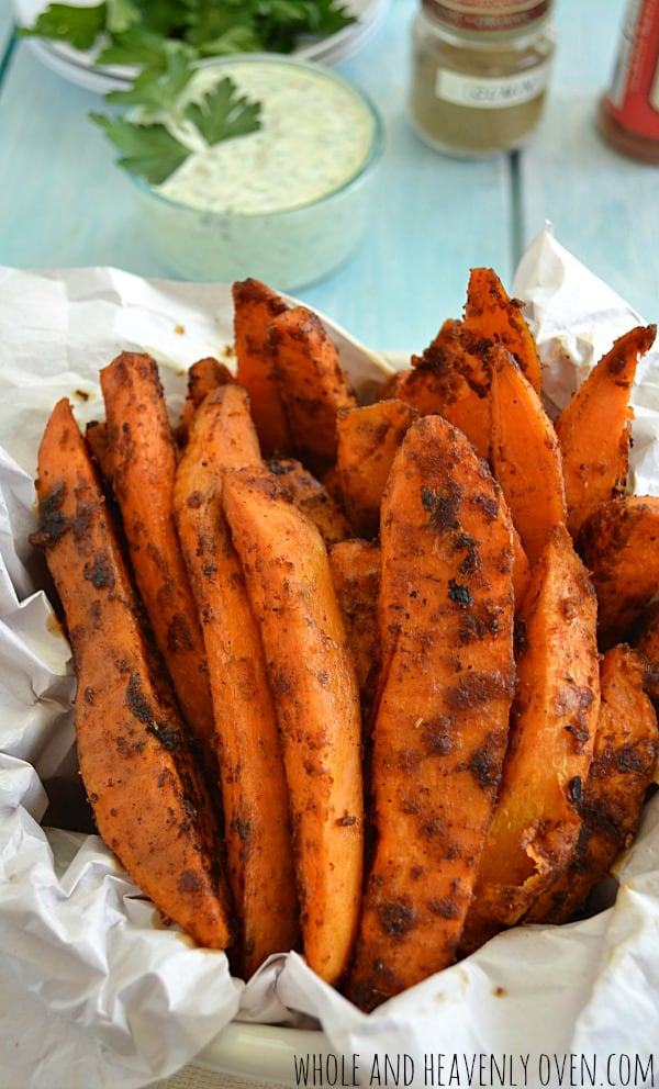 Sweet 'n' Spicy Sweet Potato Fries with Cilantro Ranch Dip | wholeandheavenlyoven.com