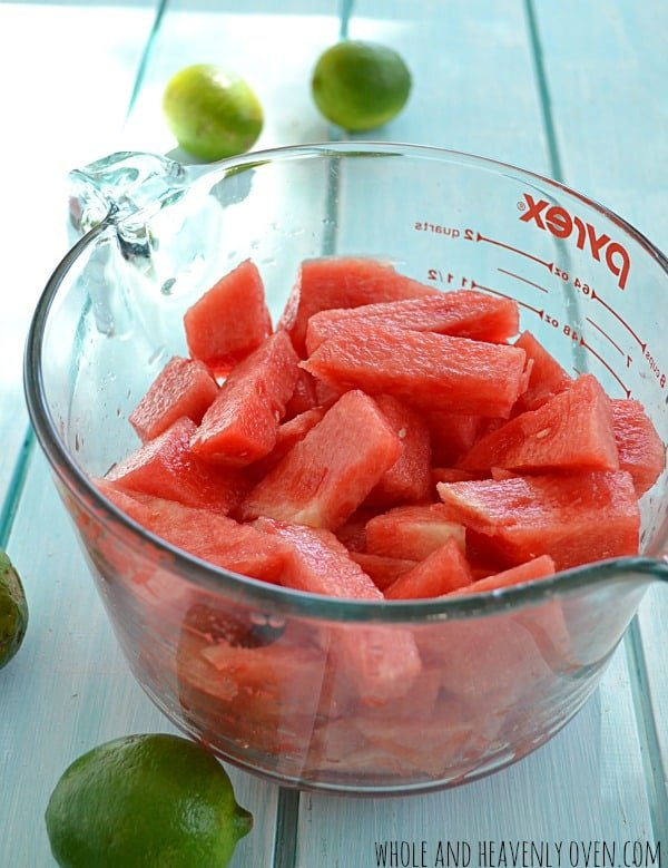 Watermelon Lime Slushies | wholeandheavenlyoven.com #watermelon #summer