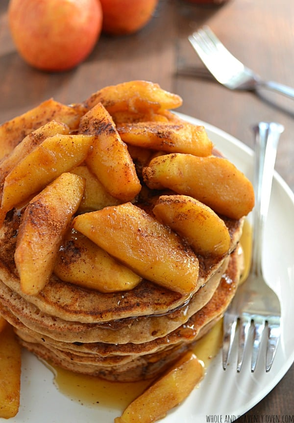 Apple Pie Ricotta Pancakes | wholeandheavenlyoven.com