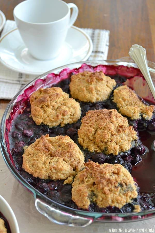 Best-Ever Blueberry Cobbler   wholeandheavenlyoven.com