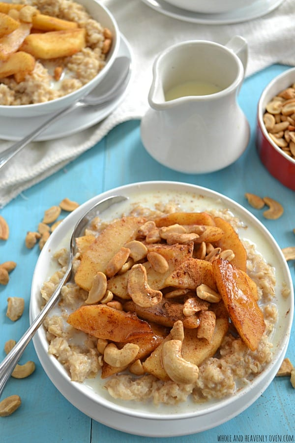 10-Minute Oatmeal with Caramelized Apples + Cashews | wholeandheavenlyoven.com