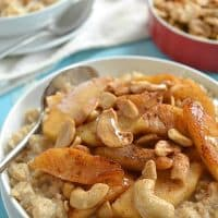 10-Minute Oatmeal with Caramelized Apples + Cashews