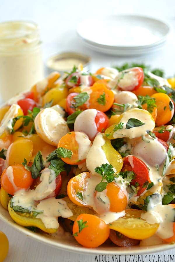 Herbed Cherry Tomato Salad with Buttermilk Ranch Dressing | wholeandheavenlyoven.com
