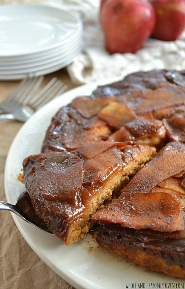 Sticky Caramel Apple Upside-Down Cake | wholeandheavenlyoven.com