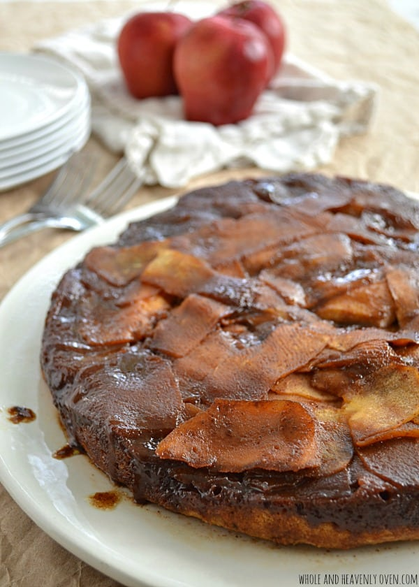 Sticky Caramel Apple Upside-Down Cake   wholeandheavenlyoven.com