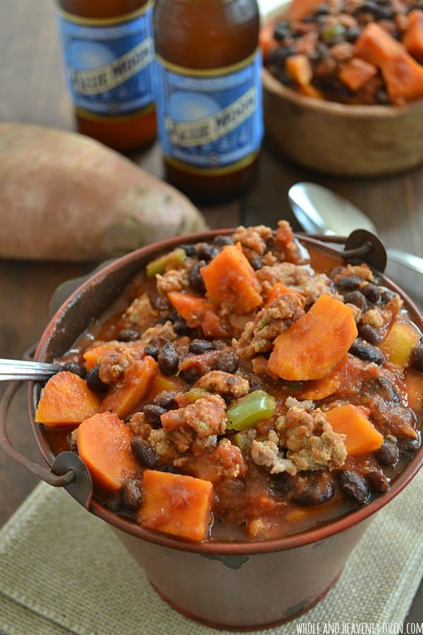 Sweet Potato Turkey Chili | wholeandheavenlyoven.com