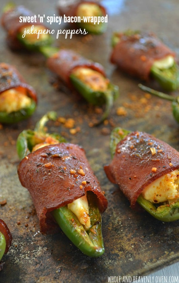 Sweet 'n' Spicy Bacon-Wrapped Jalapeno Poppers | wholeandheavenlyoven...