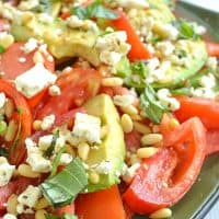 Avocado Tomato Salad with Pine Nuts + Feta