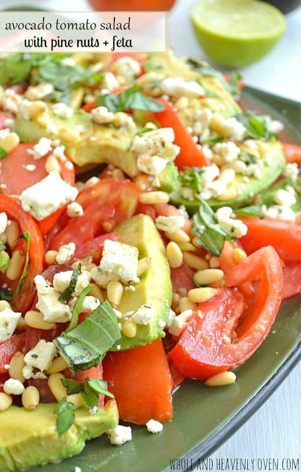 Avocado Tomato Salad with Pine Nuts + Feta   wholeandheavenlyoven.com