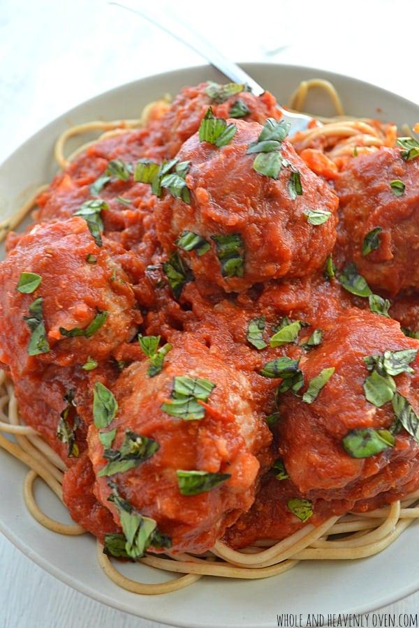 30-Minute Spaghetti and Meatballs   wholeandheavenlyoven.com