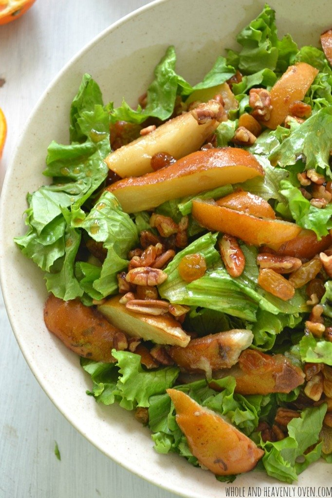 Autumn Pear Salad with Pecans + Golden Raisins | wholeandheavenlyoven.com