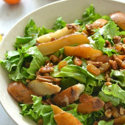 Autumn Pear Salad with Pecans + Golden Raisins9