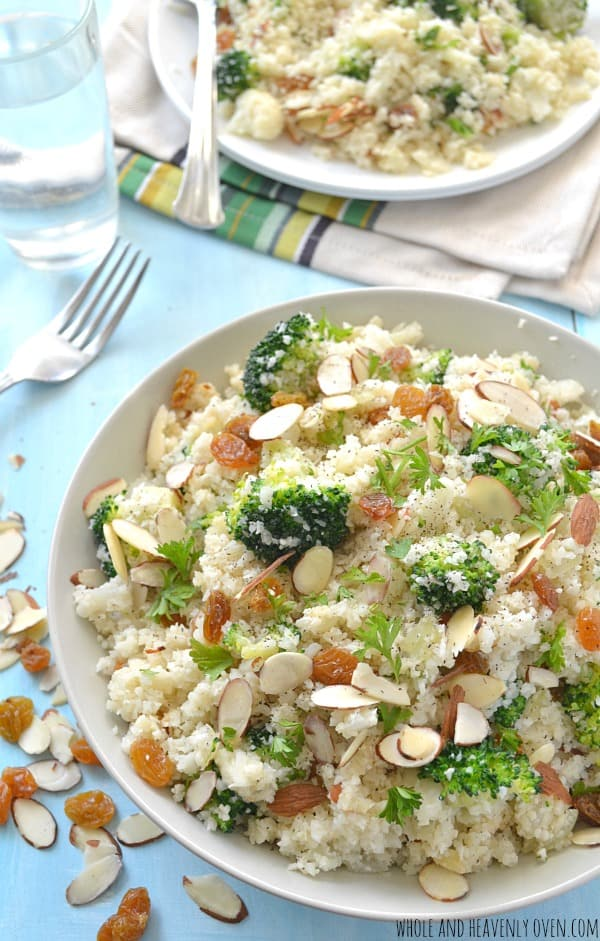 "Broccoli Cauliflower ""Rice"" Pilaf   wholeandheavenlyoven.com"