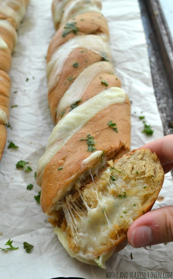 Cheesy Garlic Hasselback Bread | wholeandheavenlyoven.com