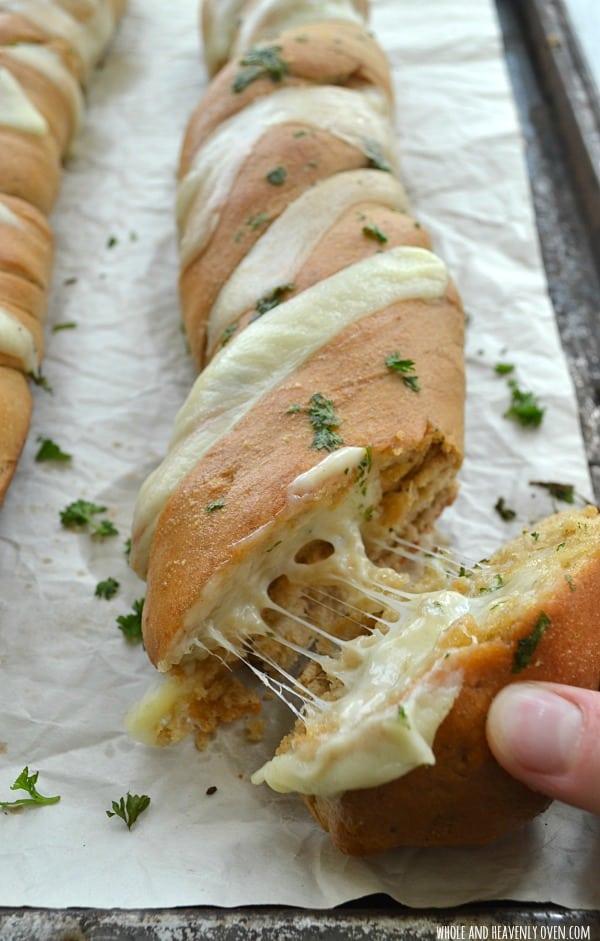Cheesy Garlic Hasselback Bread8