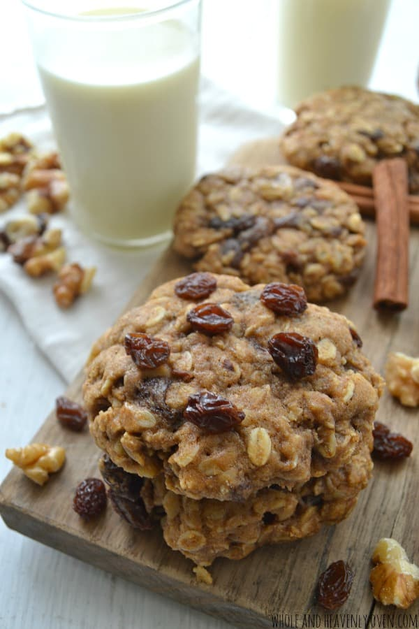 Chewiest Oatmeal Raisin Cookies | wholeandheavenlyoven.com