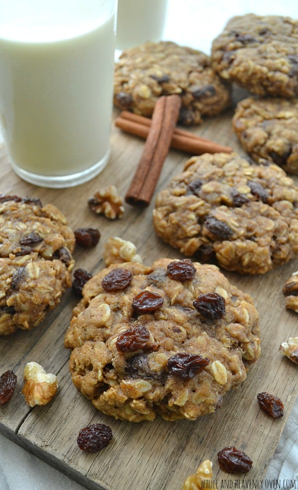 Chewiest Oatmeal Raisin Cookies | wholeandheavenlyoven.com