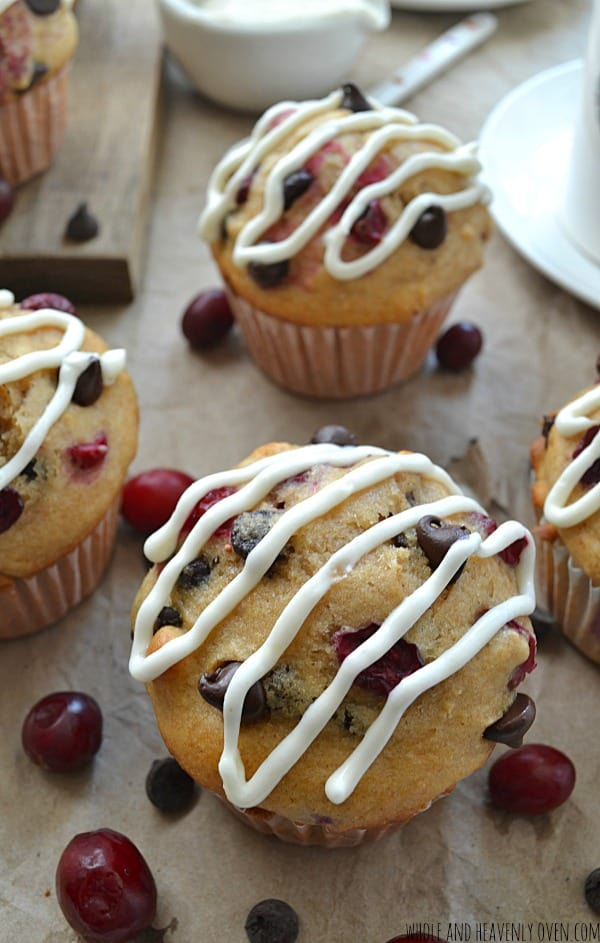 Cranberry Chocolate Chip Muffins | wholeandheavenlyoven.com