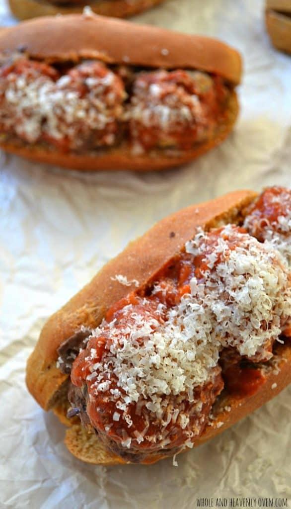 Italian Meatball Subs | wholeandheavenlyoven.com