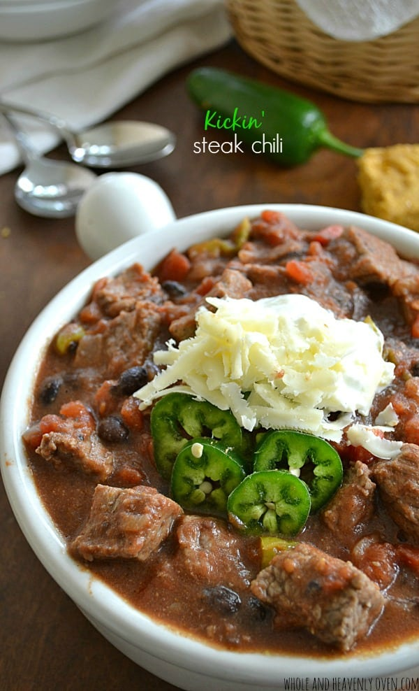 Kickin' Steak Chili | wholeandheavenlyoven.com