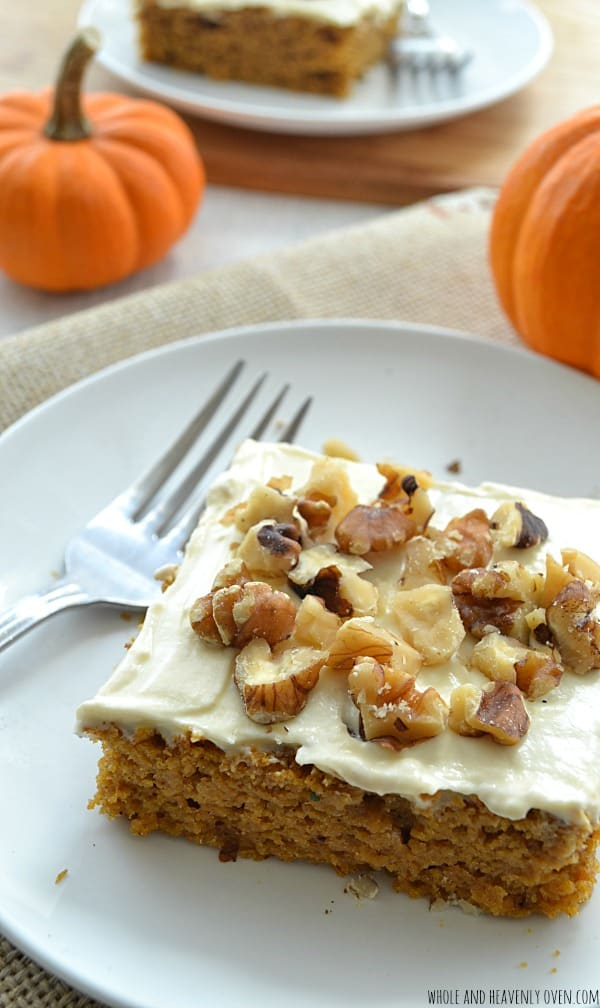 Pumpkin Sheet Cake with Cream Cheese Frosting | wholeandheavenlyoven.com