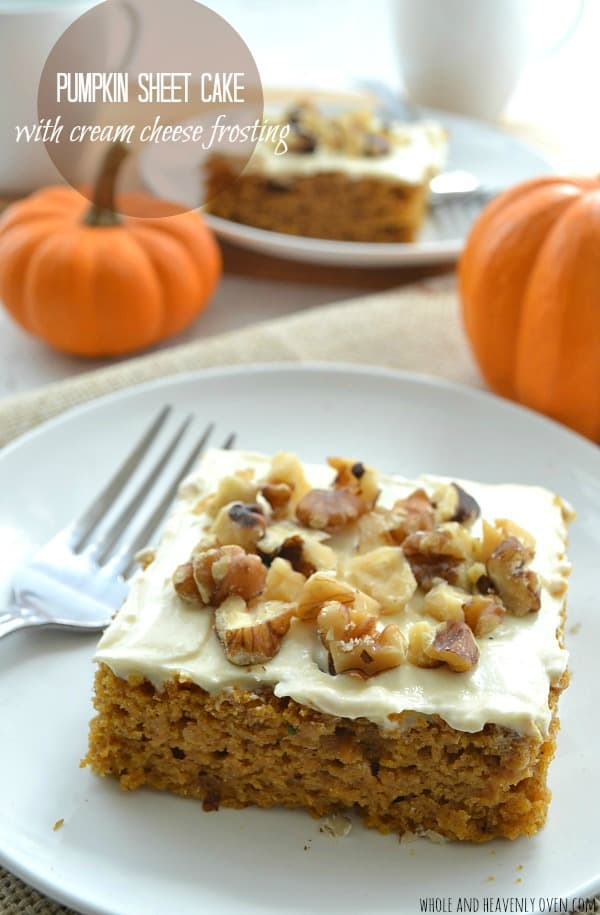 Pumpkin Sheet Cake with Cream Cheese Frosting | wholeandheavenlyoven ...
