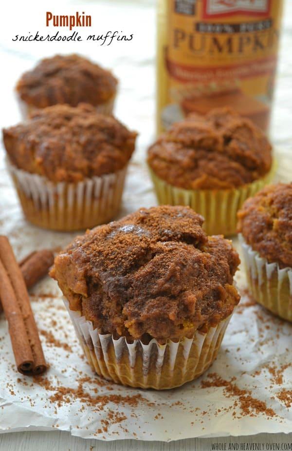 Pumpkin Snickerdoodle Muffins | wholeandheavenlyoven.com