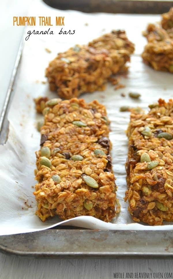 Pumpkin Trail Mix Granola Bars | wholeandheavenlyoven.com
