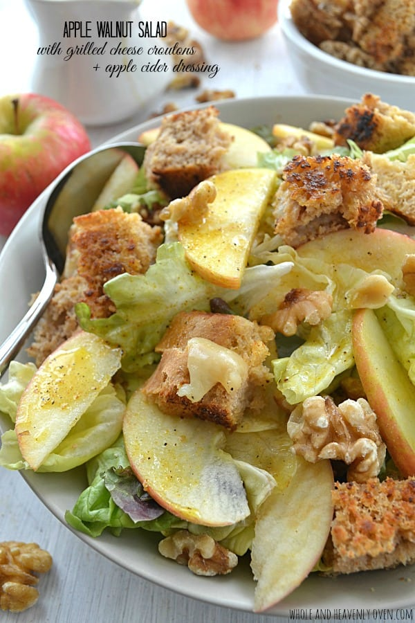 Apple Walnut Salad with Grilled Cheese Croutons + Apple Cider Dressing