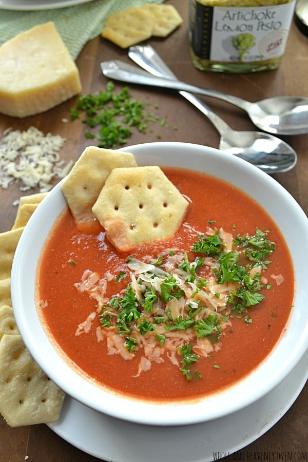 Creamy Pesto Tomato Soup -- A lunchtime favorite with grilled cheese!