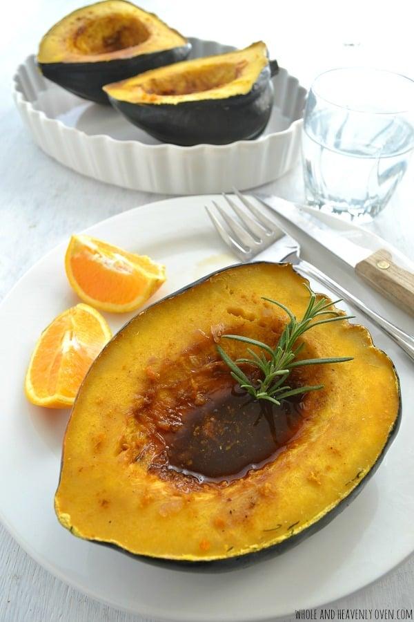 Ginger-Orange Glazed Acorn Squash | wholeandheavenlyoven.com