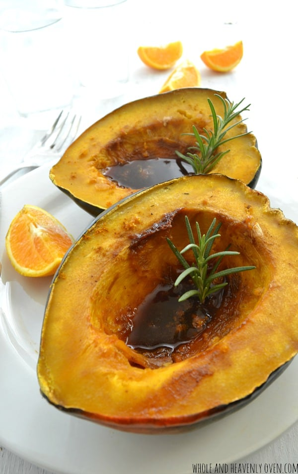 Ginger-Orange Glazed Acorn Squash | wholeandheavenlyoven.com