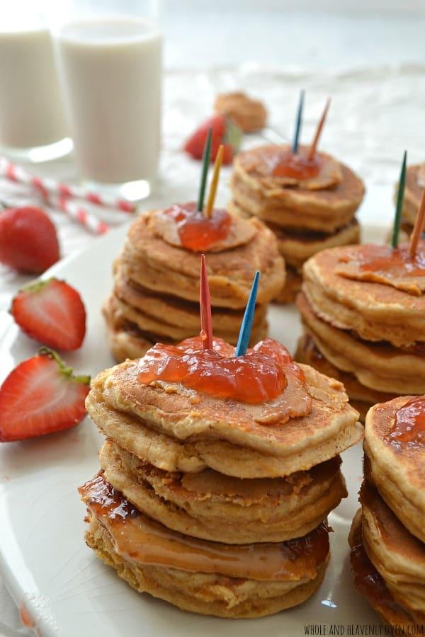 PBJ Mini-Pancake Parfaits | wholeandheavenlyoven.com