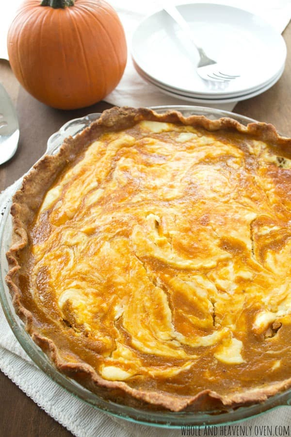 Pumpkin Cheesecake Pie | wholeandheavenlyoven.com