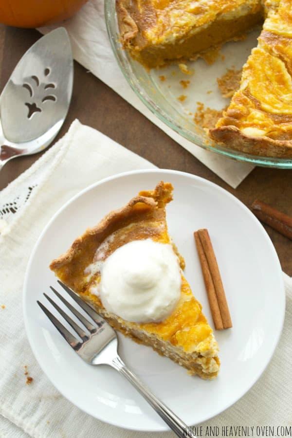 Pumpkin Cheesecake Pie   wholeandheavenlyoven.com