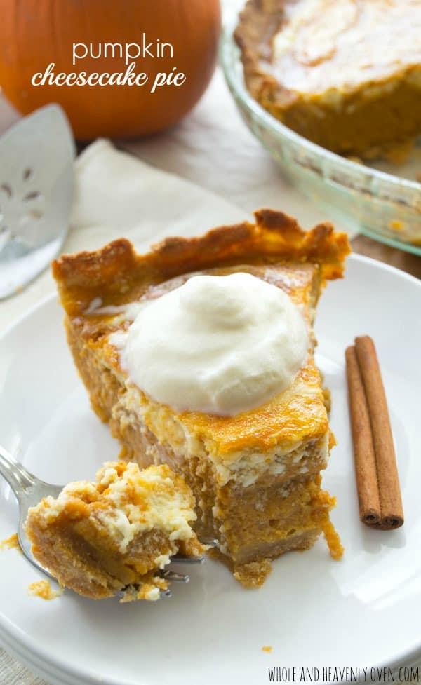 Pumpkin Cheesecake Pie | wholeandheavenlyoven.com